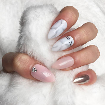 Light pink Marble chrome crystal press on nails rose gold chrome false nails, fake nails, nail art