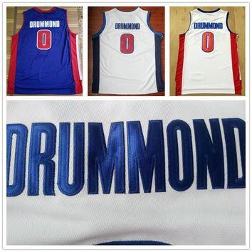 Latest #0 Andre Drummond Jersey Team Blue Home Color White Cheap Mens Andre Drummond Basketball Jerseys Uniform Sports Shirt