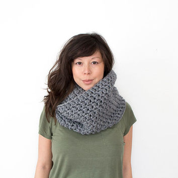 Chunky Crochet Infinity Cowl in Grey Other Colours Available