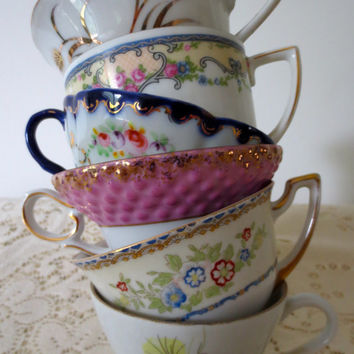 Set of 6 Mismatched Floral China Teacups.  Bridal Shower. Tea Party. Alice in Wonderland Style