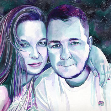 CUSTOM COUPLE PORTRAIT painted with watercolor - Gift for boyfriend / girlfriend