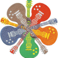 Electric Guitars Iron-On Patch Five Round