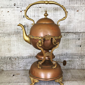 Antique Copper Teapot with Warming Stand Copper Tea Kettle with Stand Ornate 1800s Copper and Brass Teapot with Warmer Antique Metal Teapot
