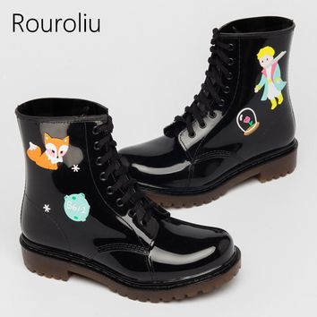 vintage cute fashion ankle boots graffiti non slip waterproof water shoes wellies fema  number 1