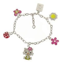 Cute Kitty Crystal Cubic Zirconia Glitter Mult Charm Bracelet Pink Flower Bow Ladybug Butterfly
