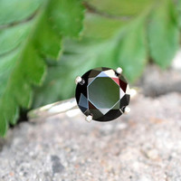 Black Spinel Ring in Sterling Silver, Black Diamond Alternative, 925 Silver Ring with Faceted Black Spinel Gemstone