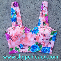 Studded Bustier Crop Top Tank Top - Pink Floral Print - Silver Studs-