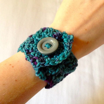 Crochet Jewelry Cuff Bracelet with Button - Blueberry, Blue - Holiday Gift, Stocking Stuffer, Gifts Under 10