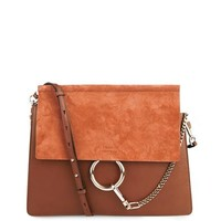 Faye suede and leather shoulder bag