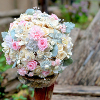Pink rose and jeweled wood flower brooch wedding bouquet -- made-to-order wedding bouquet