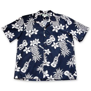Ukulele Fun Navy Hawaiian Cotton Shirt