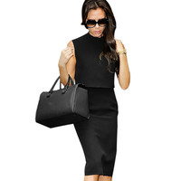 Vfemage Womens Celebrity Elegant Turtleneck Back Zipper Pinup Sleeveless Work Business Casual Party Pencil Sheath Dress 1920