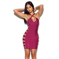 Filina deep red lattice cutout side bandage dress