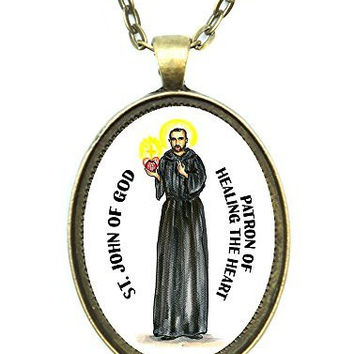 Saint John of God Patron of Healing the Heart Huge 30x40mm Handmade Antique Bronze Gold Pendant