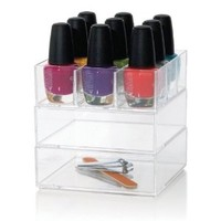 Clear Nail Cube - Stackable 3-in-1 Plastic Glam Cube Organizer