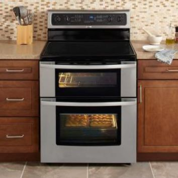 Whirlpool, Gold 6.7 cu. ft. Double Oven Electric Range with Self-Cleaning Oven in Stainless Steel, GGE388LXS at The Home Depot - Mobile