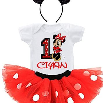 MINNIE MOUSE 1ST BIRTHDAY TUTU OUTFIT,