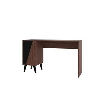 Hogan 2- Shelf Mid Century Office Desk, Dark Brown and Black