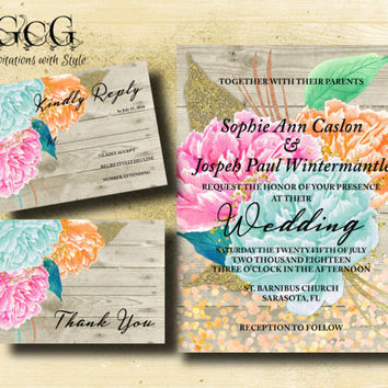 Floral Rustic Wedding Invitation suite, Boho Chic Wedding invitation suite Watercolor Peony invitation set Bohemian Wedding printable