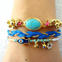Ethnic bracelet set blue braided bracelet fish evil eye jewelry pink string bracelet gifts for women best friend birthday