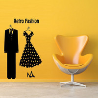 Wall Art Vinyl Sticker Decal Mural Decor Art Retro Fashion Man Suit Dress Polka Dot 1089