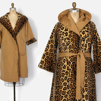 Vintage 50s Reversible Coat / 1950s Faux Leopard Print Velvet & Camel Tan Belted Raincoat with Hood