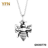 YFN New 925 Sterling Silver 3D Bee Pendant Necklace Hardworking Flying Honeybee Vintage Necklace 18inches Chain necklace GNX8770