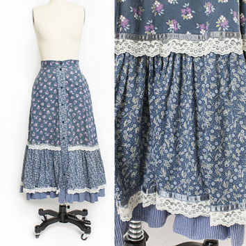Vintage 1970s Gunne Sax Skirt - Blue Floral Cotton Calico Peasant Boho Hippie Skirt - Small