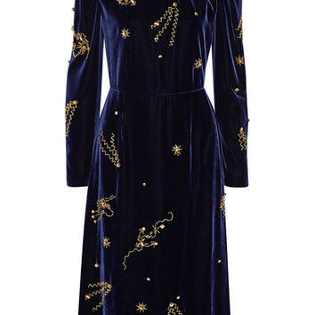 Prada - Embellished velvet midi dress