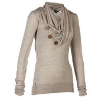 Womens Decorative Buttons Delicate Cowl Neck Fashion Casual Long Sleeve Hoodies Sweater