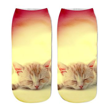 Cat Anklet Boat Socks Funny Crazy Cool Novelty Cute Fun Funky Colorful