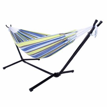 HOT SALE ! Polyester Outdoor Portable Hammock Set with Stand