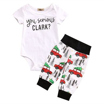Christmas  Cute Newborn Infant Baby Boy Girl Clothes Romper Tops + Bus Long Pants 2PCS Outfit Set Baby Clothing