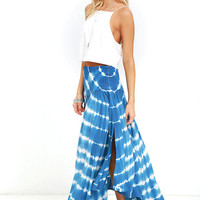 Piece by Piece Blue Tie-Dye Midi Skirt