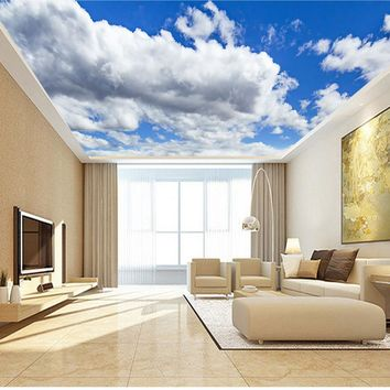 Large Blue Sky Cloud Mural 3d Ceiling Mural Wallpaper for Walls Living room Hall 3d Wall Ceiling Murals 3d Wall paper Sticker