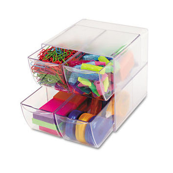 desk cube w/4 drawers clear plastic 6 x 6 x 6 Case of 2