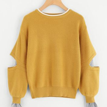 Yellow Insert Elbow And Cuff Jumper With Striped Bishop Sleeve