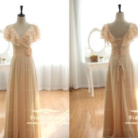 Hot Sale Champagne Chiffon Prom Dress Layers Bodice Bridesmaids Dress A-line Long Prom Gown