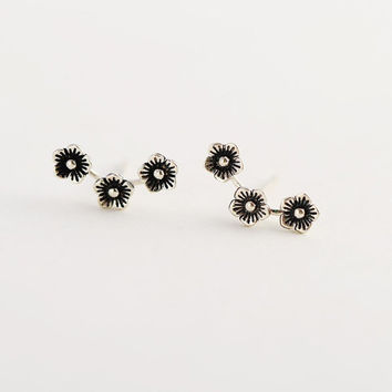Three Flower Stud Earrings, Sterling Silver Flower Earrings, Silver Flower Blossom Earrings,gift for her,flower jewelry