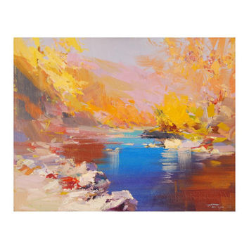 Golden Autumn Painting - Landscape Painting - Bright Fall Art Trees and River in Mountains