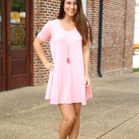 Piko - V neck trapeze dress - Rose Quartz
