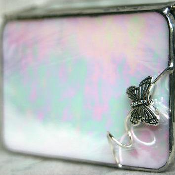 Stained Glass Design Jewelry Box Pink Iridescent by GaleazGlass
