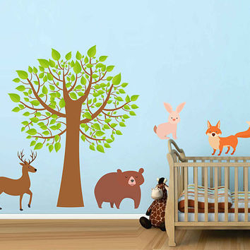 Forest animals Wall Decals for nursery woodland animals Wall Decals for nursery forest wall decal tree wall decal for nursery kcik1761