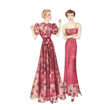 1930s Womens Dinner Dress and Slip - Vintage Sewing Pattern Simplicity 2354 - 32 Bust FACTORY FOLDS