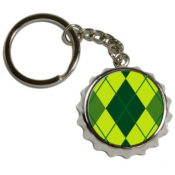 Argyle Hipster Green Pop Cap Bottle Opener Keychain