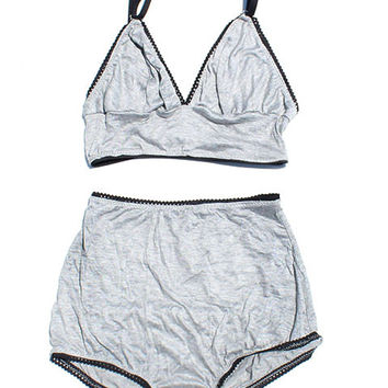 Basic Heather Gray Triangle Bra & High Waist Panties