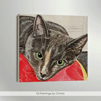 Custom pet portrait Cat portrait Custom order Pet portrait Pet painting Memorial art Pet gift Pet art  Painting Cat oil painting Handmade