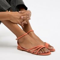 Mango faux suede strappy sandal in orange at asos.com