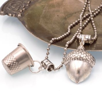 Peter Pan Kiss Thimble & Acorn Couples Necklaces, Set of 2