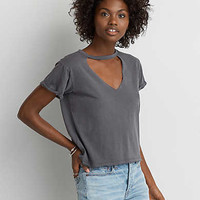 AEO Shrunken Choker T-Shirt, True Black